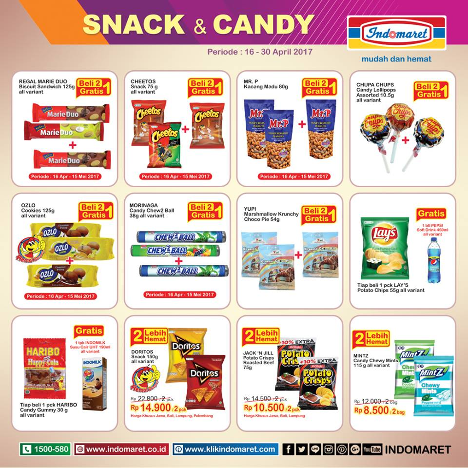 Indomaret Katalog Promo Snack Candy Beli 2 Gratis 1 Harga Spesial