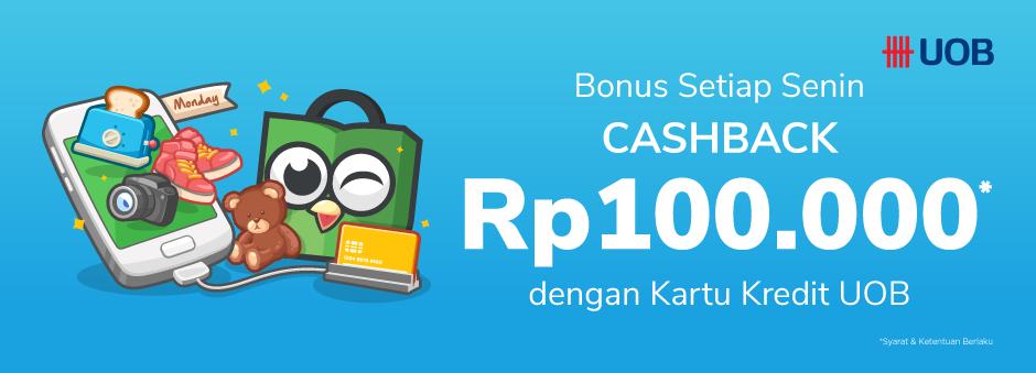 Tokopedia Promo Belanja Pakai Kartu Kredit Uob Setiap Senin Bonus Cashback Rp 100 Ribu