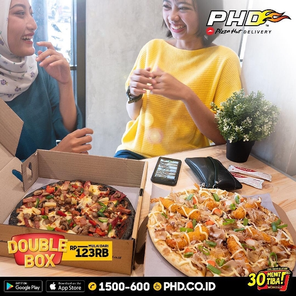 PHD Pizza Hut Delivery Promo Spesial Double Box! Harga Mulai Rp. 123 Ribuan