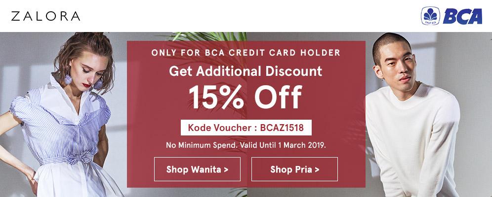 Zalora Promo Spesial Kartu Kredit BCA, Diskon Ekstra 15%