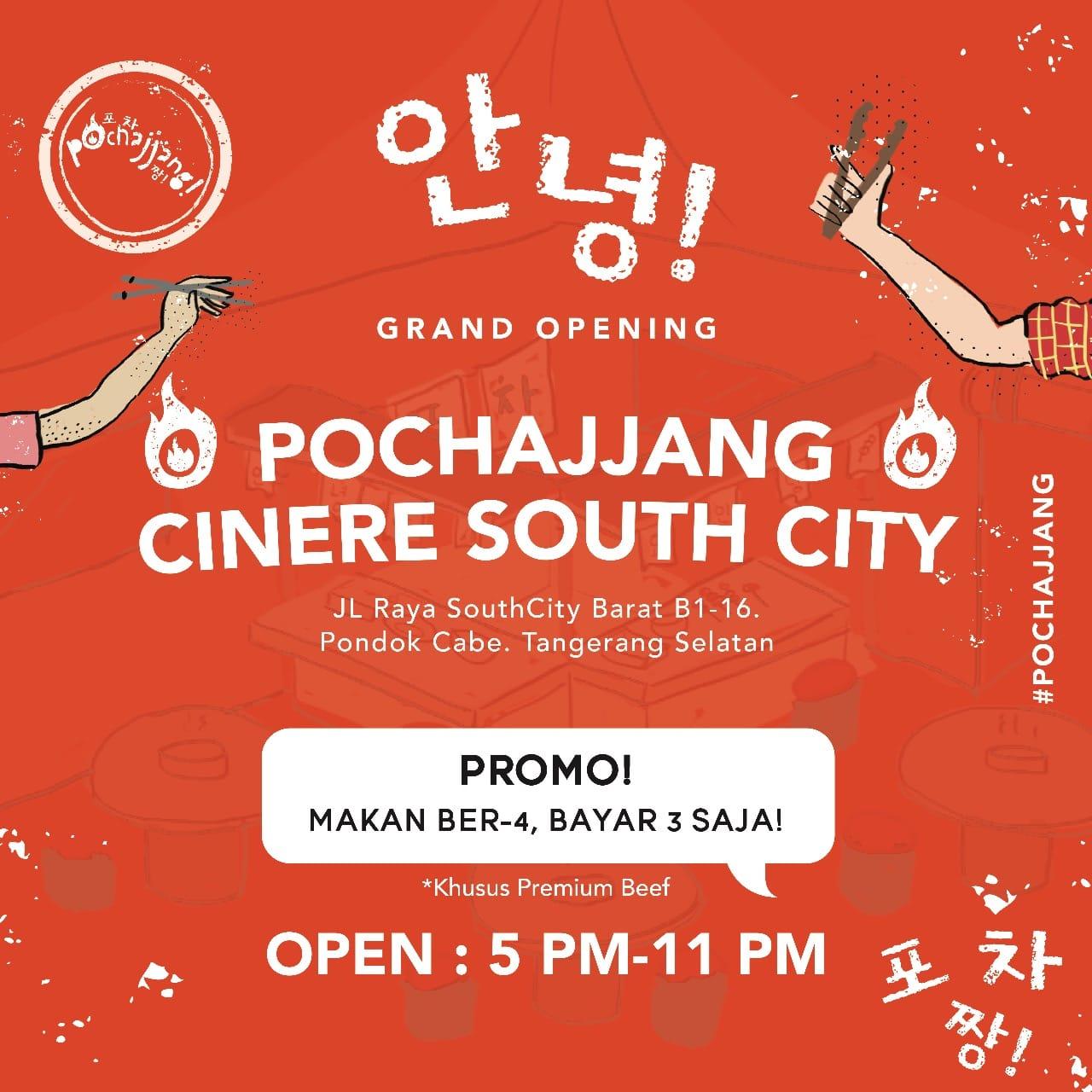 Pochajjang Korean BBQ Promo Grand Opening, Buy 3 Get 1 Free