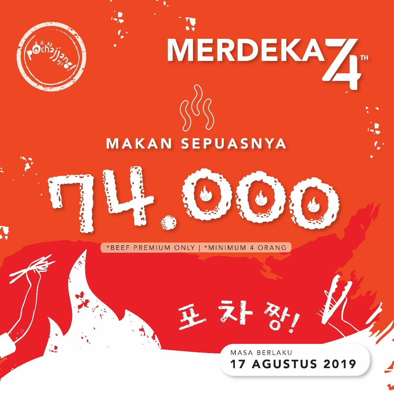 Pochajjang Korean BBQ Promo Merdeka, All You Can Eat Hanya Rp. 74.000!