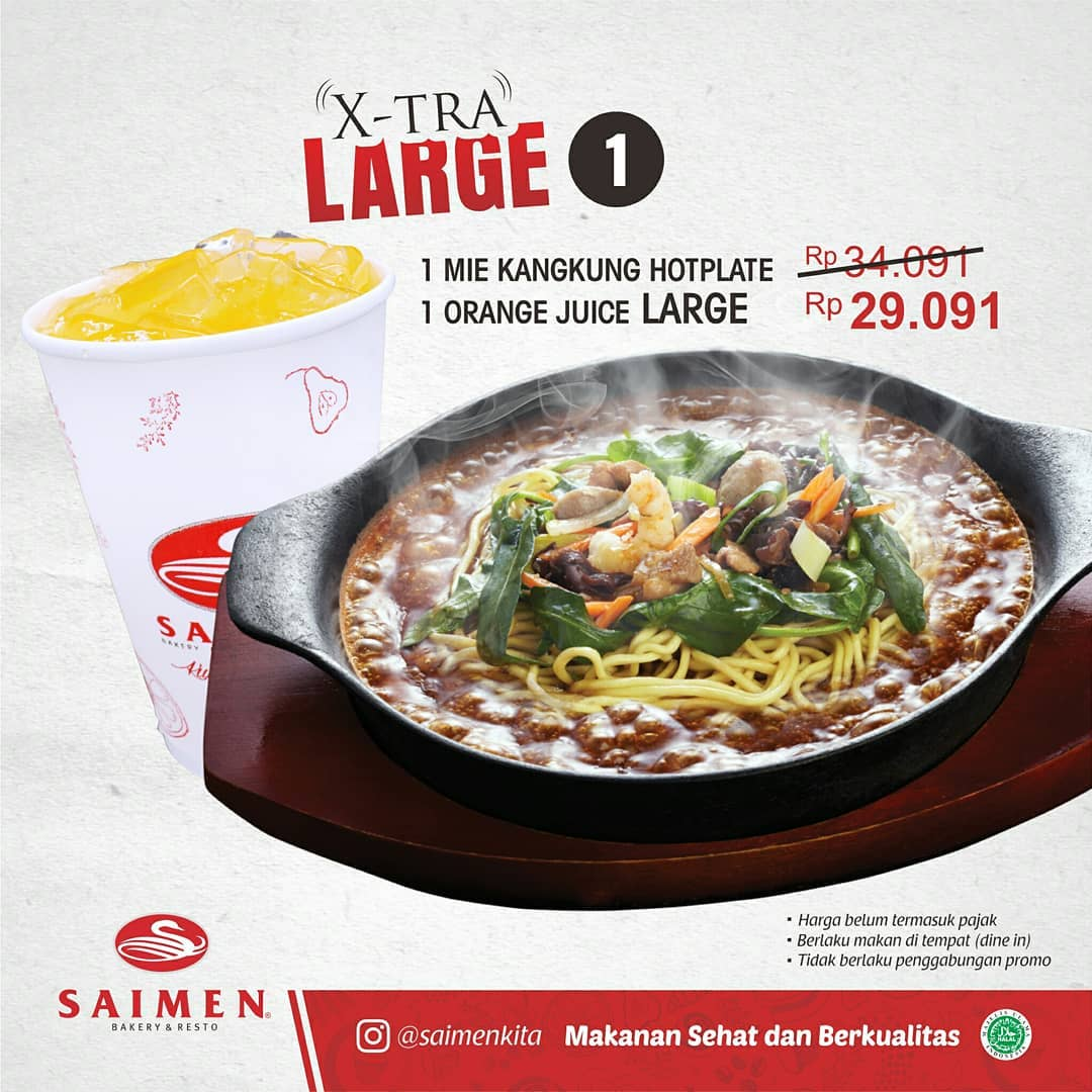 SAIMEN Promo Paket Xtra Large Mie Kangkung Hotplate, Harga Cuma Rp. 29 Ribuan!