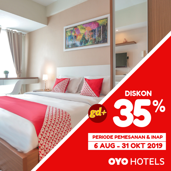 Promo OYO Hotels Spesial GD+, Diskon 35%