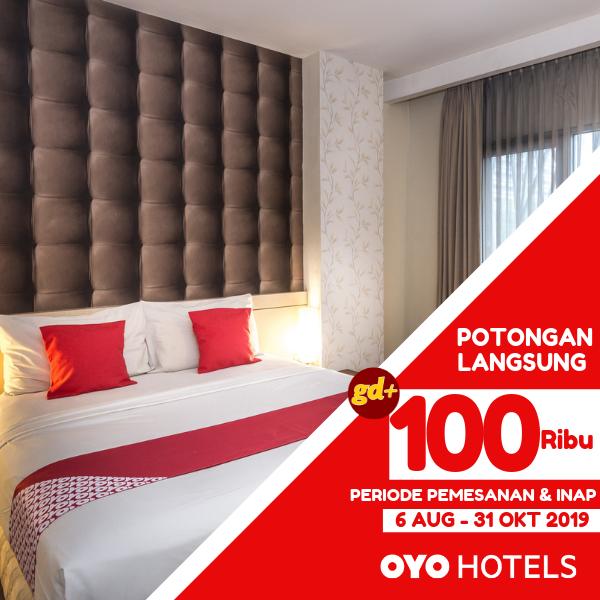Promo OYO Hotels Spesial GD+, FREE Voucher Potongan Harga Rp. 100.000