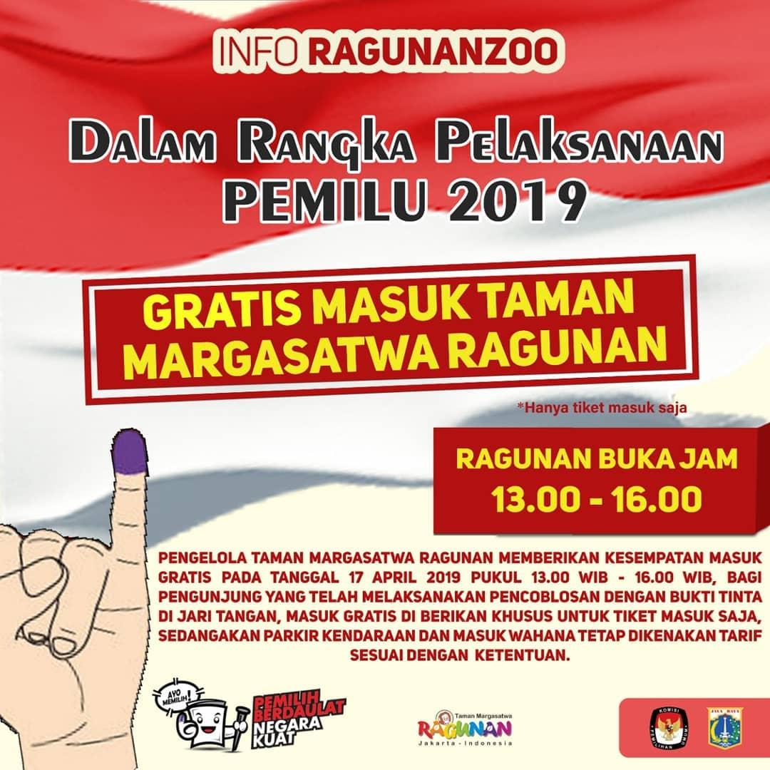 Ragunan Zoo Promo Spesial Pemilu, GRATIS Tiket Masuk