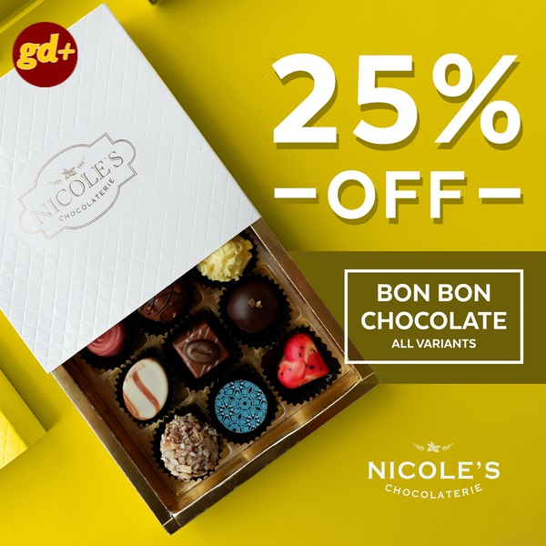 Promo Nicole's Chocolaterie Special GD+ Member, Get Discount 25% off For Bon Bon Chocolate All Variants