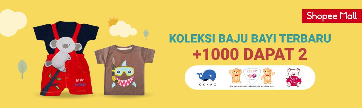 Shopee Mall Promo Koleksi Baju Bayi Terbaru, Tambah Rp. 1.000 Dapat 2