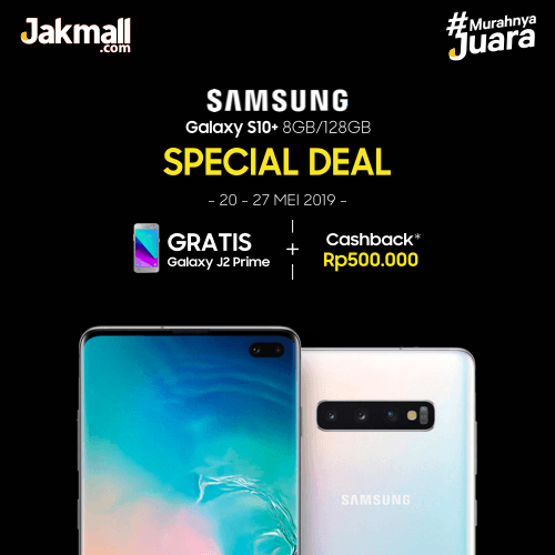 Jakmall.com Promo Samsung S10+ Special Deal, Gratis Galaxy J2 Prime + Cashback Rp500.000