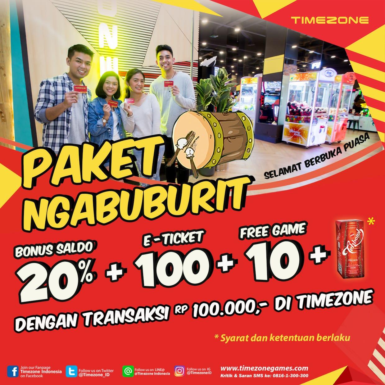 Timezone Promo Paket Ngabuburit, Bonus Saldo, Gratis 10 Games Dan Free Takjil