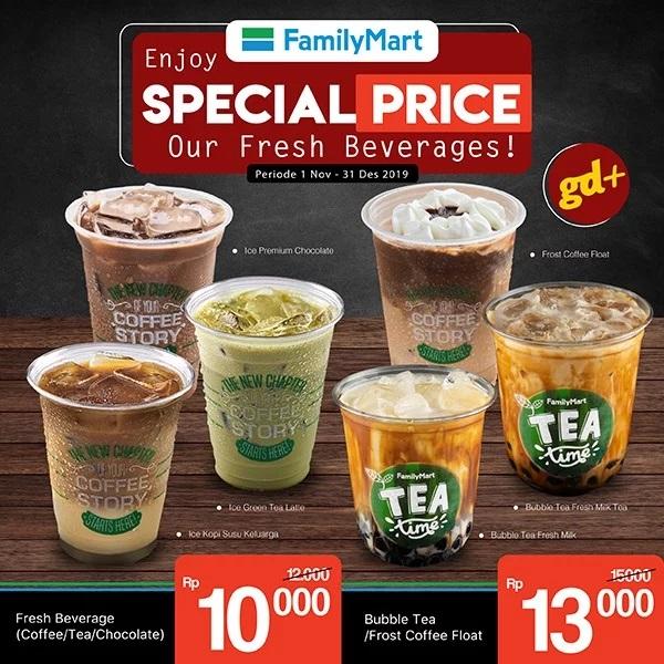 Promo FamilyMart Spesial GD+, Menu Fresh Beverage (Coffee/ Tea/ Chocolate) hanya Rp 10.000