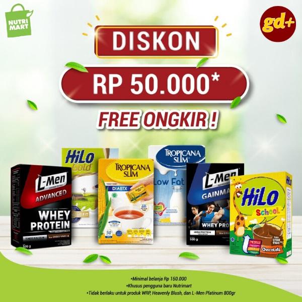 Promo Nutrimart Spesial GD+, Potongan Harga Rp 50.000 & Free Ongkir Untuk Produk Pilihan