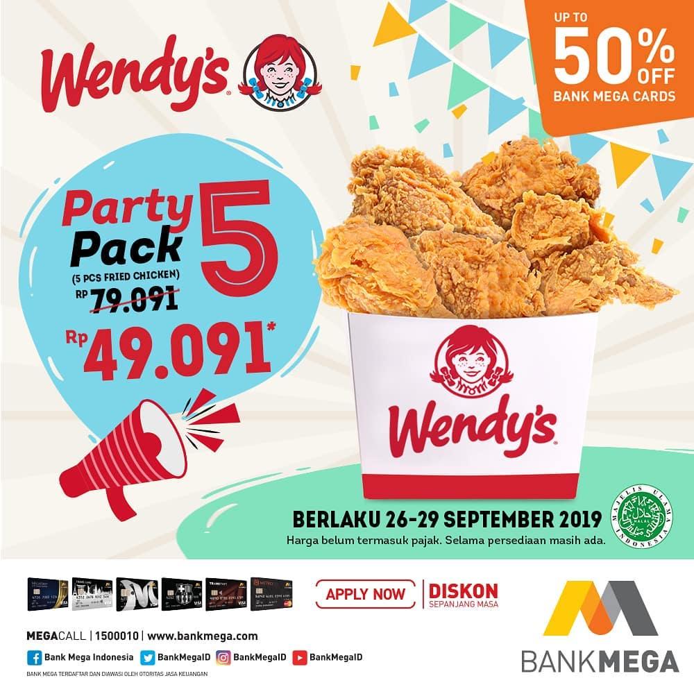 Wendys Promo Payday Party Pack, Harga Cuma Rp. 49 Ribuan!