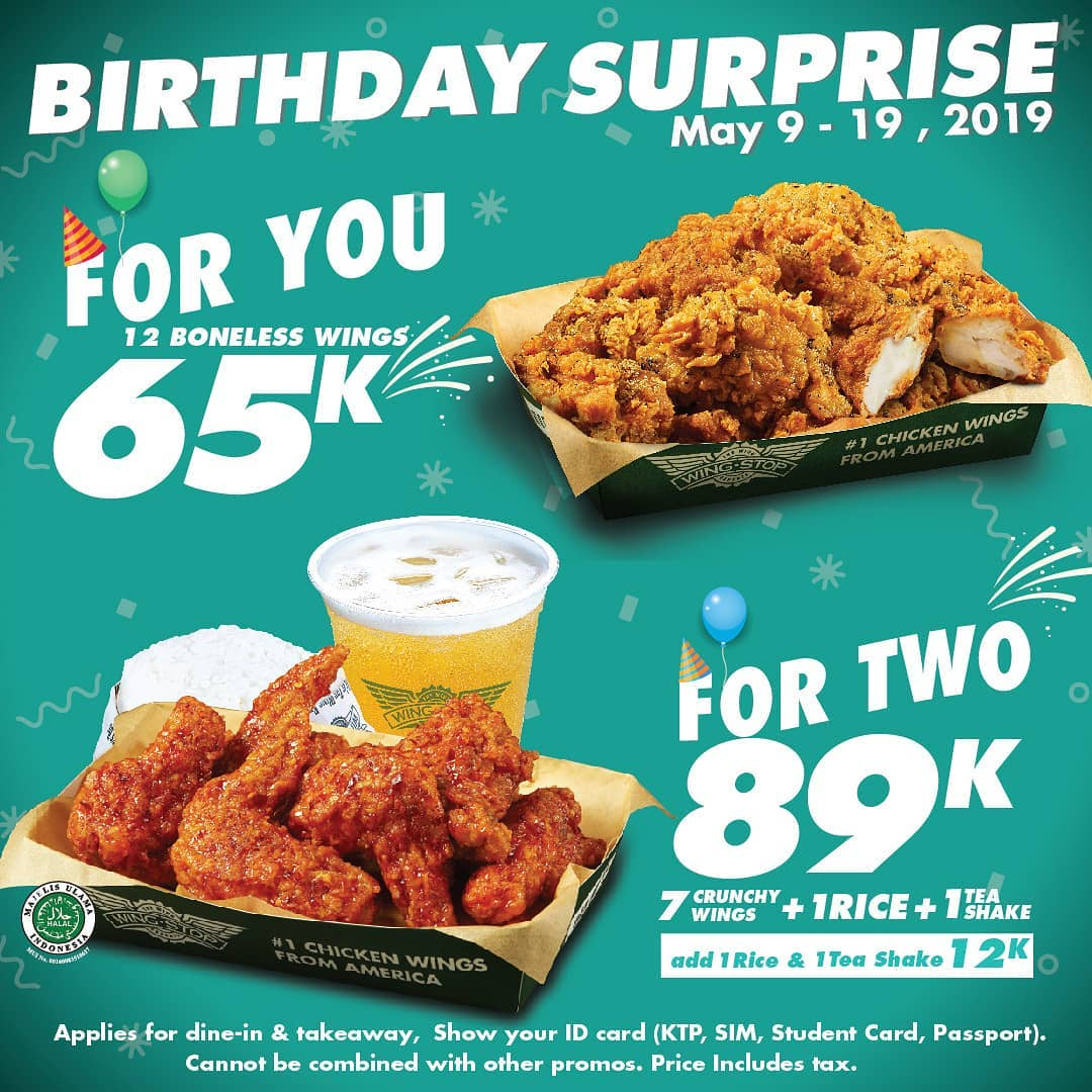 Wingstop Promo Birthday Surprise For You, Harganya Mulai Rp. 65.000