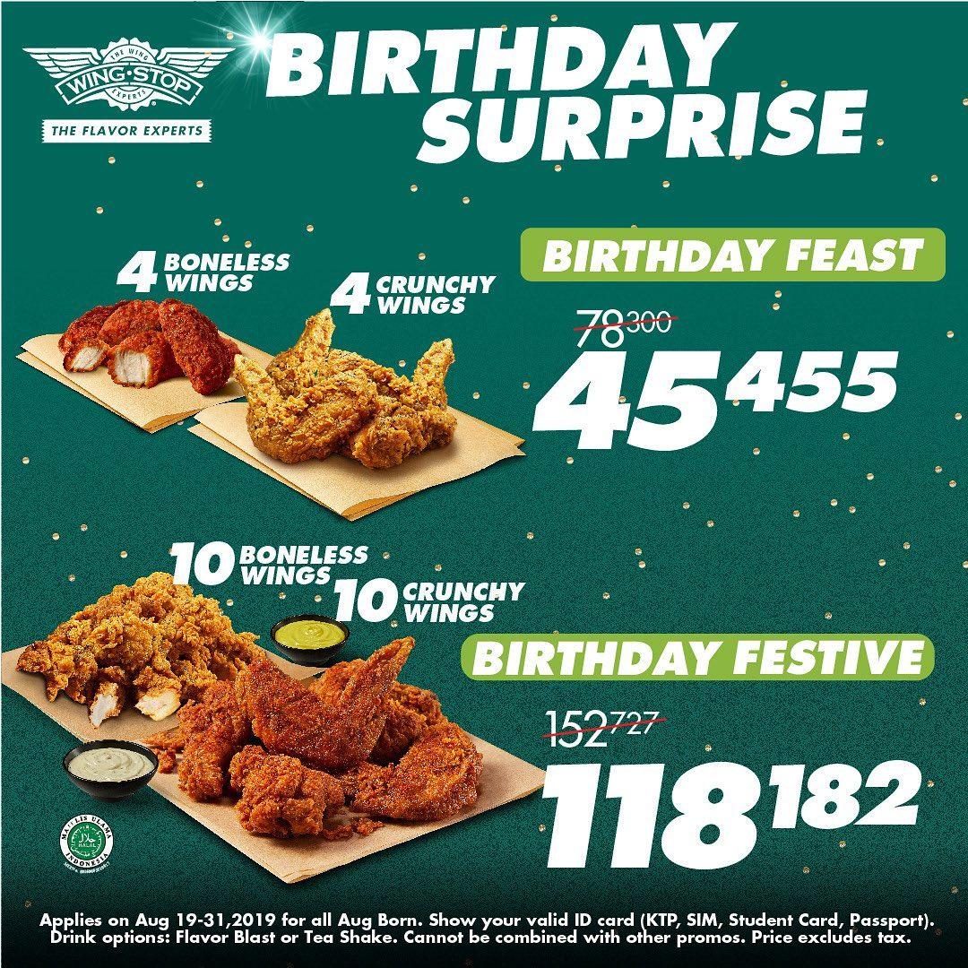 Wingstop Promo Birthday Surprise Agustus, Harga Mulai Dari Rp. 45 Ribuan