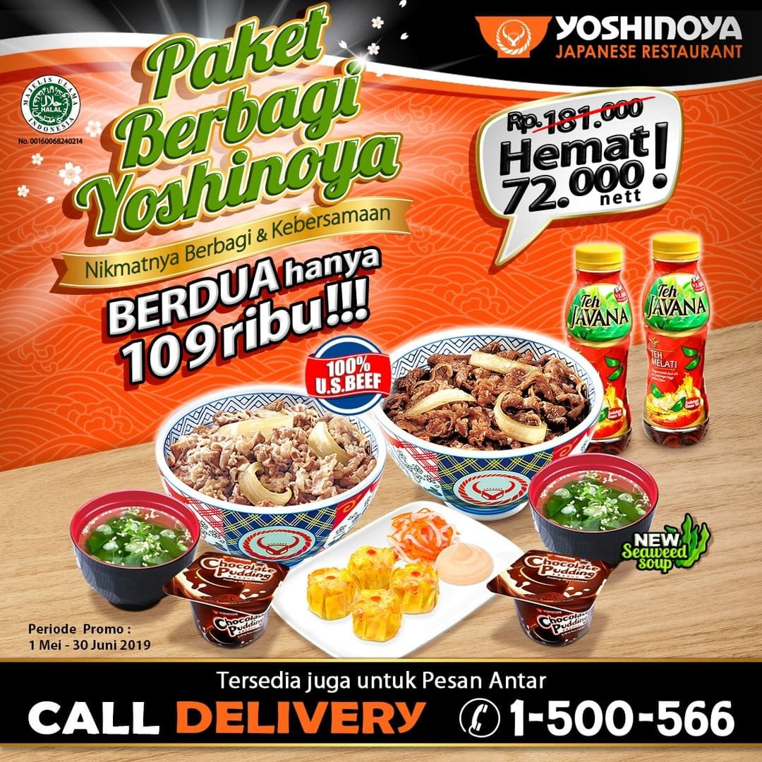 Yoshinoya Promo Spesial Paket Berbagi, Makan Berdua Hemat Rp 72.000!