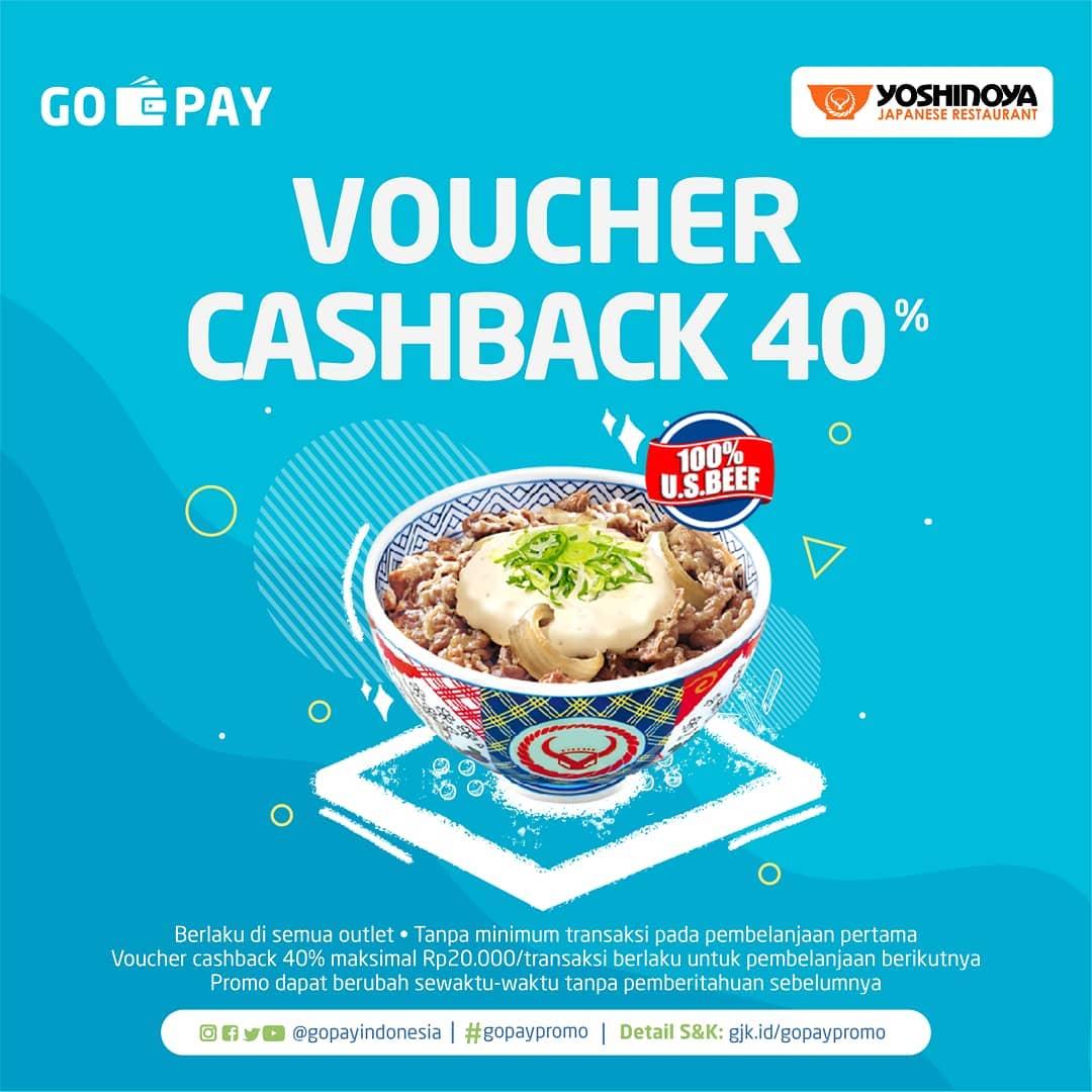 Yoshinoya Promo Spesial CASHBACK 40% Dengan Gopay