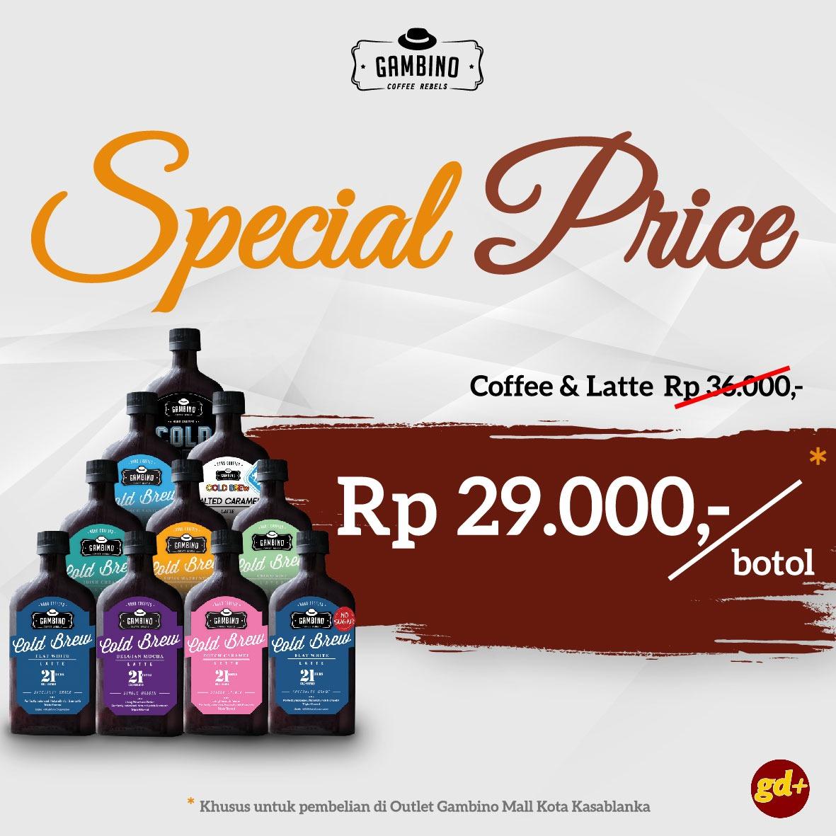 Gambino Coffee Promo Diskon Coffee Latte Hanya 29RIBU per Botol