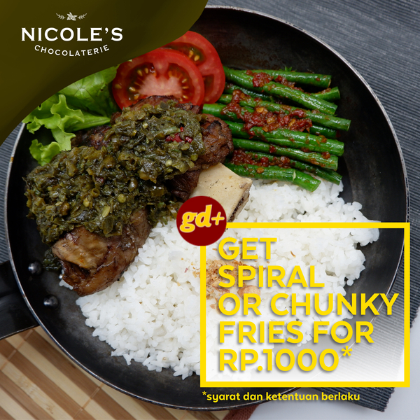 Promo Nicole's Chocolaterie, Get Spiral or Chunky Fries For Only Rp 1000