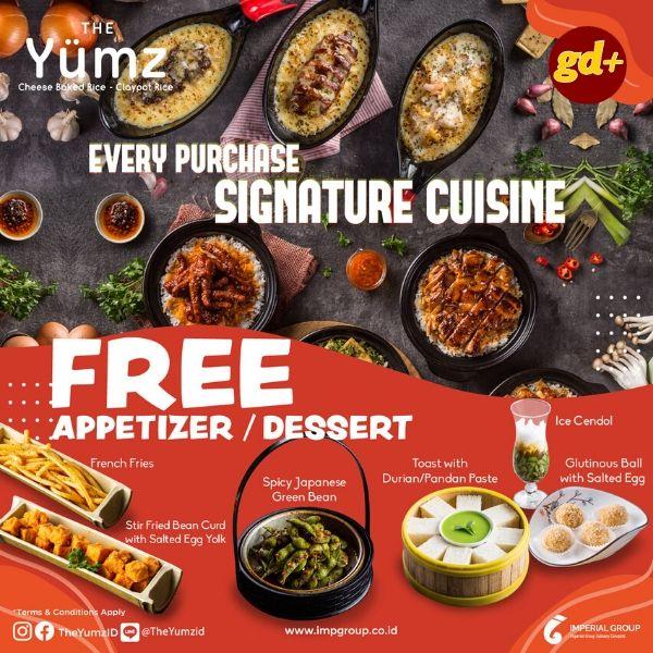 The Yumz Promo FREE Appetizer atau Dessert!